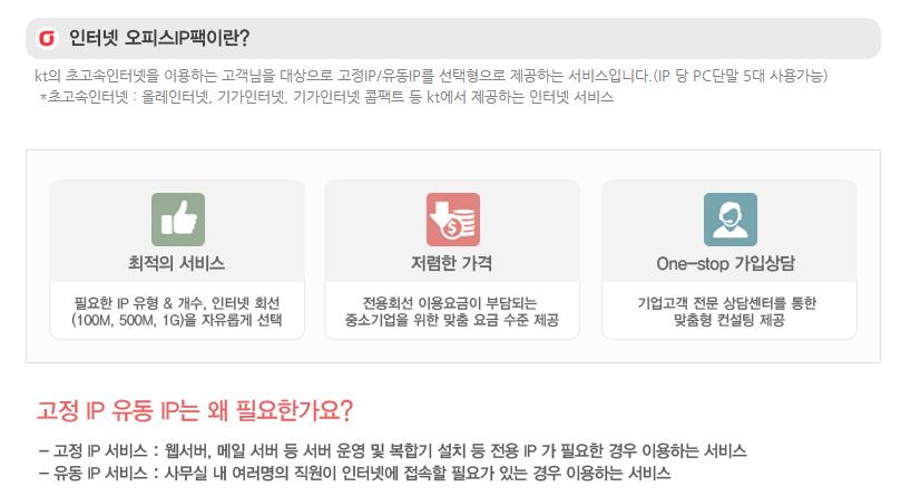 올레KT 기업상품 인터넷 오피스팩 IP상세설명2
