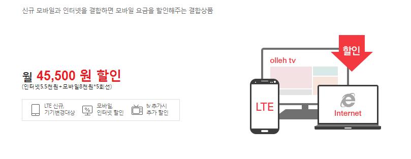 올레KT 결합상품 LTE 뭉치면올레2